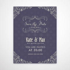 Wedding Invitation Card with floral decoration.