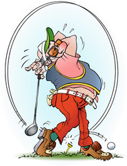 Vector cartoon illustration of a golf player in a strike