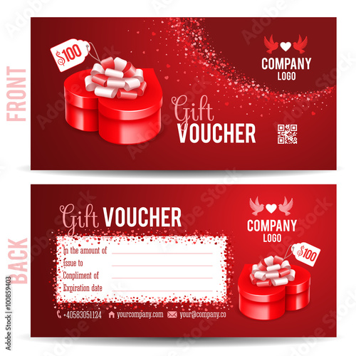 Gift Voucher Template With Luxury Red Gift Box In Heart Shape Front