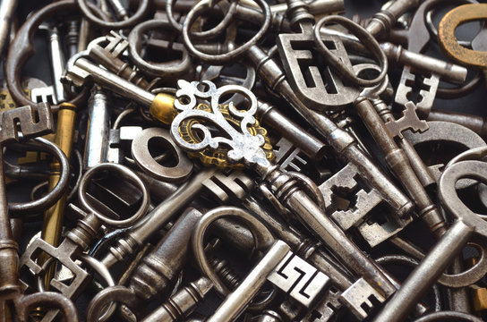 A Pile of many Antique Keys full frame