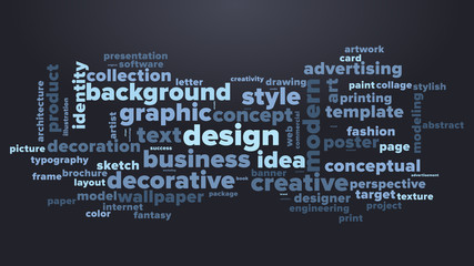 DESIGN word cloud. Dark blue tag cloud. Vector graphics illustration.