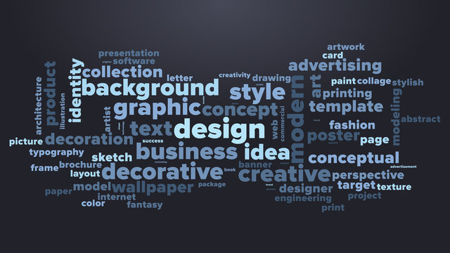 DESIGN word cloud. Dark blue tag cloud. Vector graphics illustration.