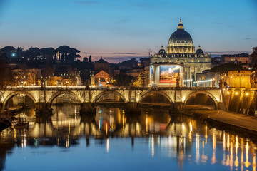 Fototapete - Rome, Italy: St. Peter's Basilica, Saint Angelo Bridger