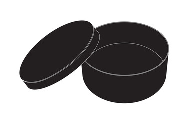 Round  box. Black icon.