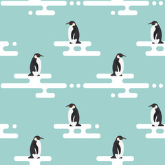 Seamless vector pattern with penguins standing on stylized glaci