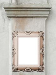 Close-up of one baroque picture frame on ancient column background