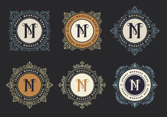 Vintage emblem template. Monogram emblem insignia. Calligraphic logo ornament vector design. Decorative frame for Restaurant Menu, Hotel, Jewellery, Fashion, Label, Sign, Banner, Badge