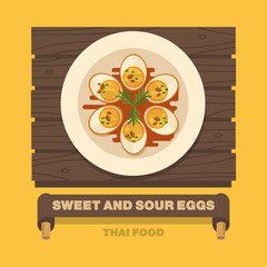 Thailand's national dishes,Sweet And Sour Eggs - Vector flat