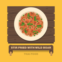 Thailand's national dishes,Stir fried with wild boar Red curry