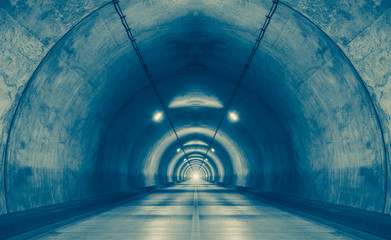 Interior of an urban tunnel at mountain without traffic..