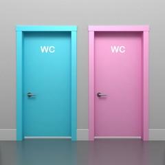 Door pink and blue
