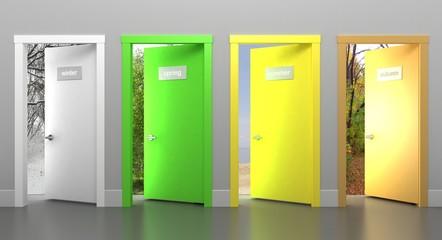 Doors in different seasons