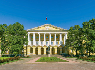 Facade of the Smolny Institute building. St.-Petersburg, Russia