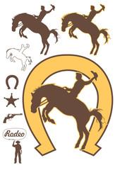 Rodeo cowboy riding a bucking bronco, vector