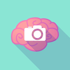 Long shadow brain with  a photo camera