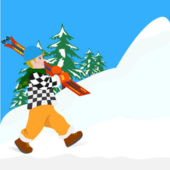 man with skis on a walk in the woods in winter