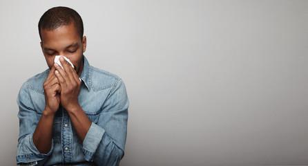 Black man with a flu