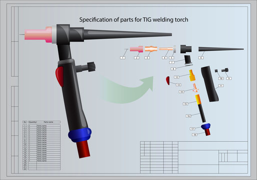Details of welding torch / Specification of parts for TIG welding torch