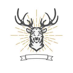 deer head with sun burst.