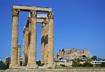 Acropolis view behind the temple of Olympian Zeus in Athens Greece