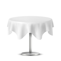 Empty Round Table with Tablecloth Isolated on White Background