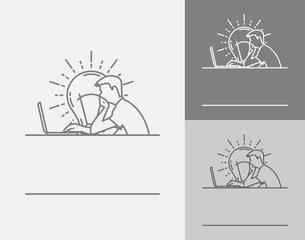 Vector sign template. A man working on the computer. Developer logo or training center. Light bulb - new knowledge and fresh ideas