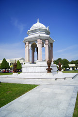 White monument to a blue sky background