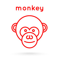 Line style logotype template with a monkey.