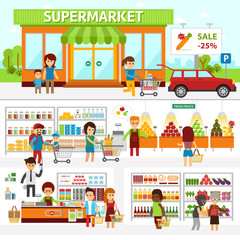 Supermarket infographic elements. Flat vector illustration. People choose products in the shop.