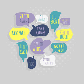 Most Common Used Typical Good-Bye Phrases On Speech Flat Bubbles