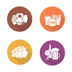 Food and drinks flat design icons set