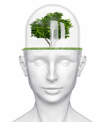 human head with tree