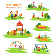 Playground infographic elements vector flat illustration