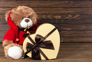 Heart Gift box and teddy bear