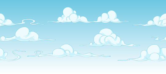 Bright cartoon clouds, continuous background