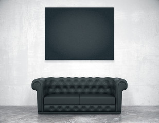 Black blank picture frame on the concrete wall and leather sofa,