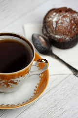 balck tea on wood table