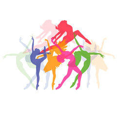 set of icons of dancing girls, fitness, vector illustration