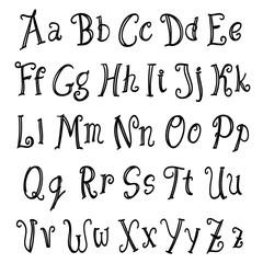 hand lettering alphabet set black on white. vector