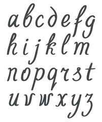 hand lettering simple alphabet set. lowercase black letters on w