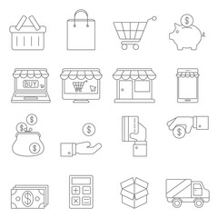 On Line Shopping Thin Icons