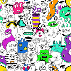 Seamless Pattern With Funny Monsters.