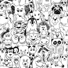Graphic Seamless Pattern With Animals.