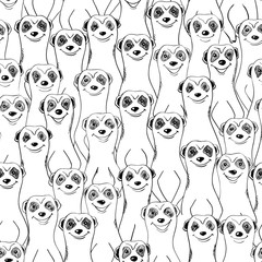 Graphic Seamless Pattern Of Smiling Meerkats.