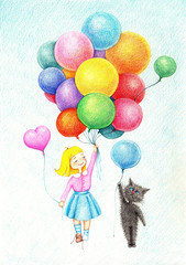 hand drawn picture of  girl and cat flying on color balloons by the color pencils
