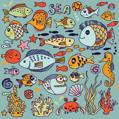 Acrylic Prints Pop Art Cartoon underwater icons set with crab, fishes, seahorse, corals and other marine elements. Seamless pattern can be used for wallpapers, web page backgrounds