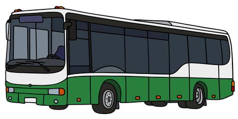 Green city bus / Hand drawing, vector illustration