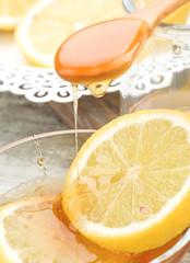 still life of honey and lemon