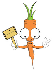 cute carrot cartoon Mascot vector illustration vegan vegetable character with empty sign