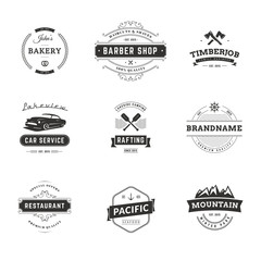 Set of Minimal Vintage Hipster Logotype Templates. Black on White Colors. Food, Car, Travel, Barber Shop